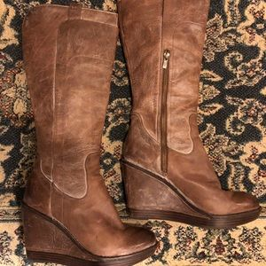FRYE Paige Wedge Heel Tall Boot Size 8.5
